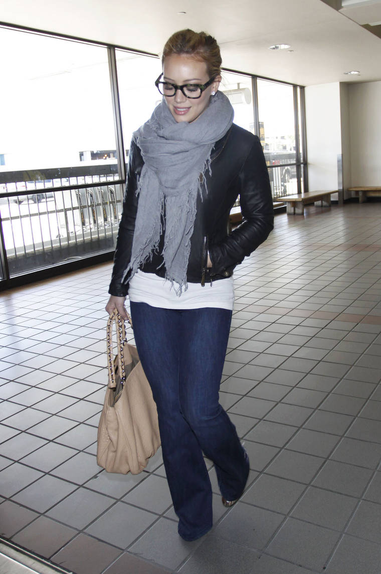 Hilary Duff Wearing Jeans at LAX Airport
