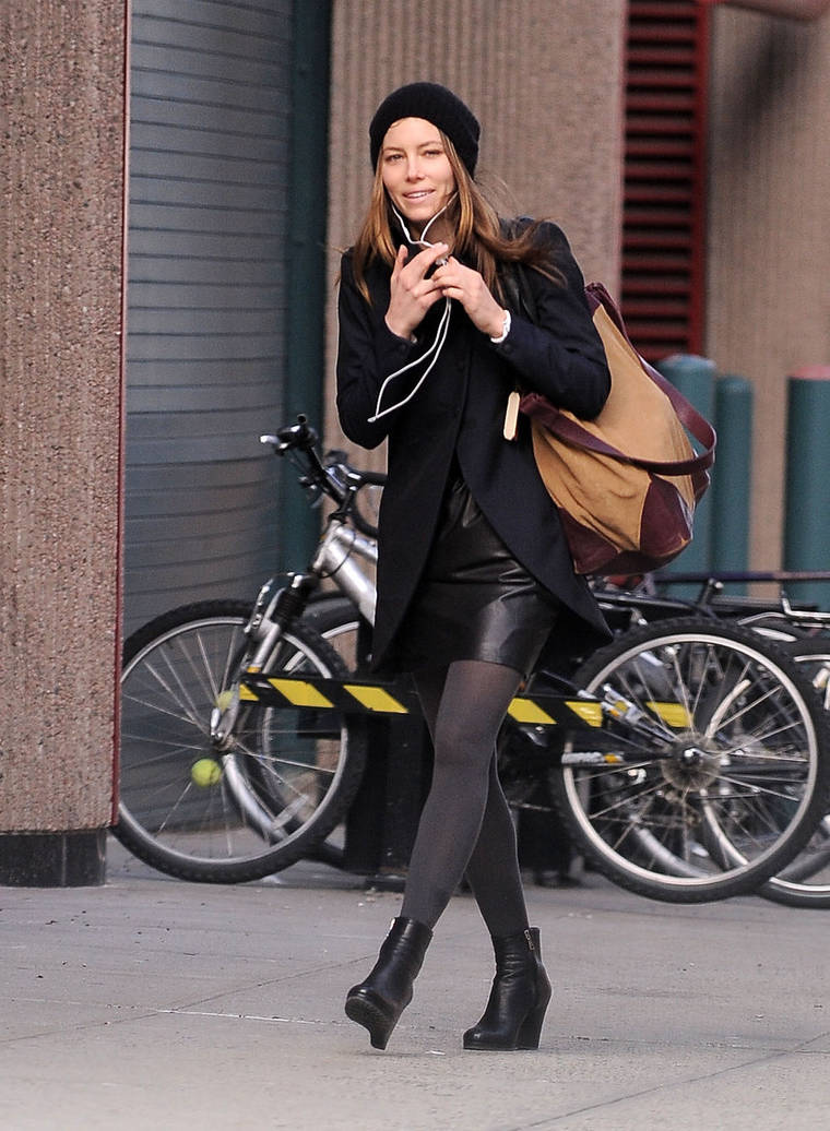 Jessica Biel in a skirt in Soho