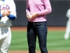 Julia Stiles throwing out the first pitch at the New York Mets game