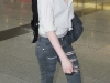 Kristen Stewart in ripped jeans at JFK Airport