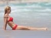 Michelle Hunziker red bikini on Miami beach