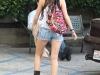 Miley Cyrus in denim shorts in Toluca Lake