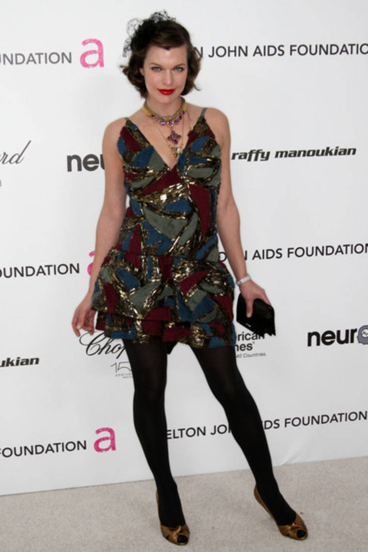 Milla Jovovich at 18th Annual Elton John AIDS Foundation Academy Award Party