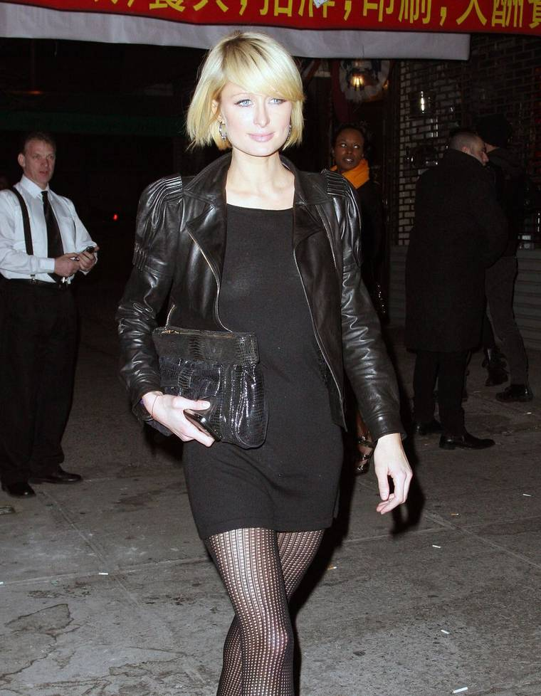 Paris Hilton in Short Black Dress
