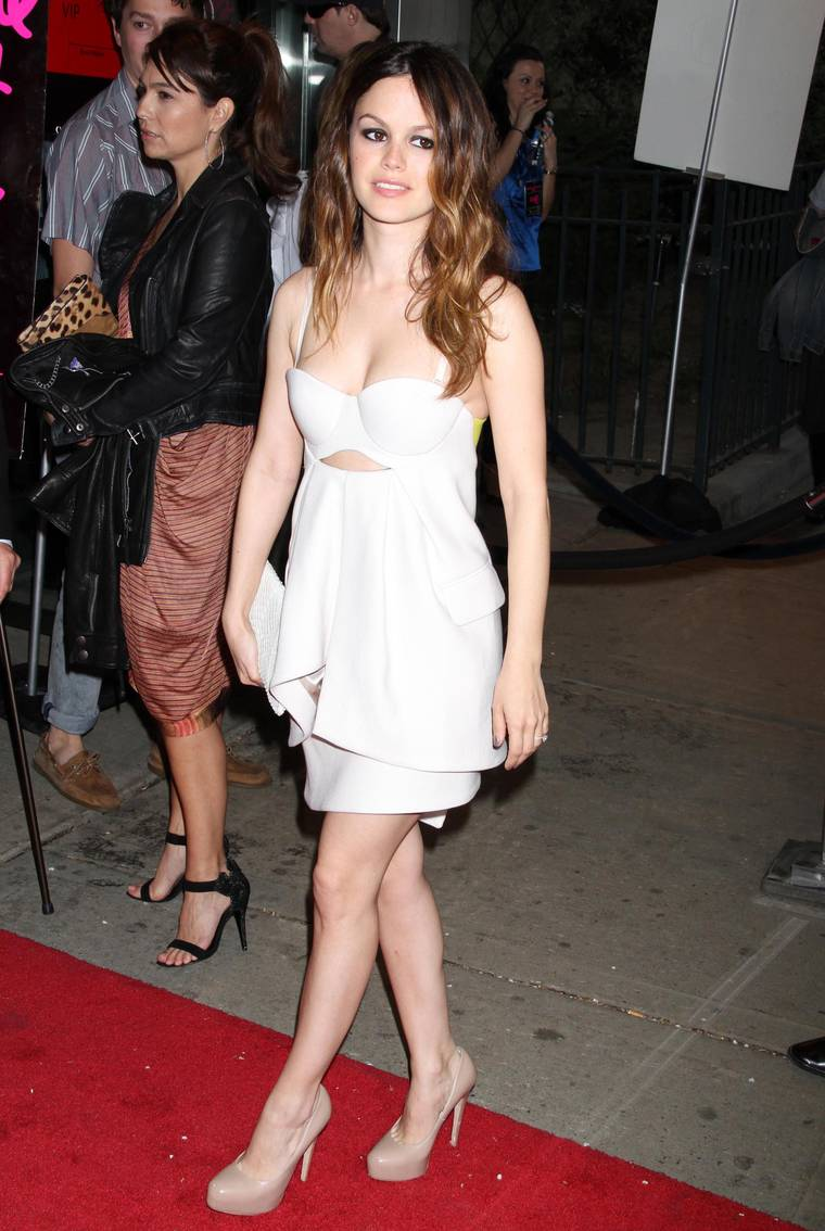 Rachel Bilson cleavaga at Waiting For Forever premiere