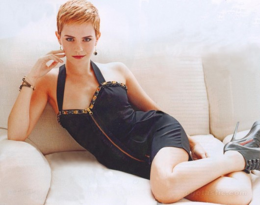 Emma Watson Short hair in unknown photoshoot, laying on bed