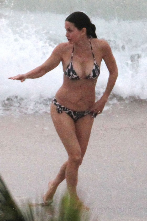 Courteney Cox - Bikini Candids in Saint-Barthelemy