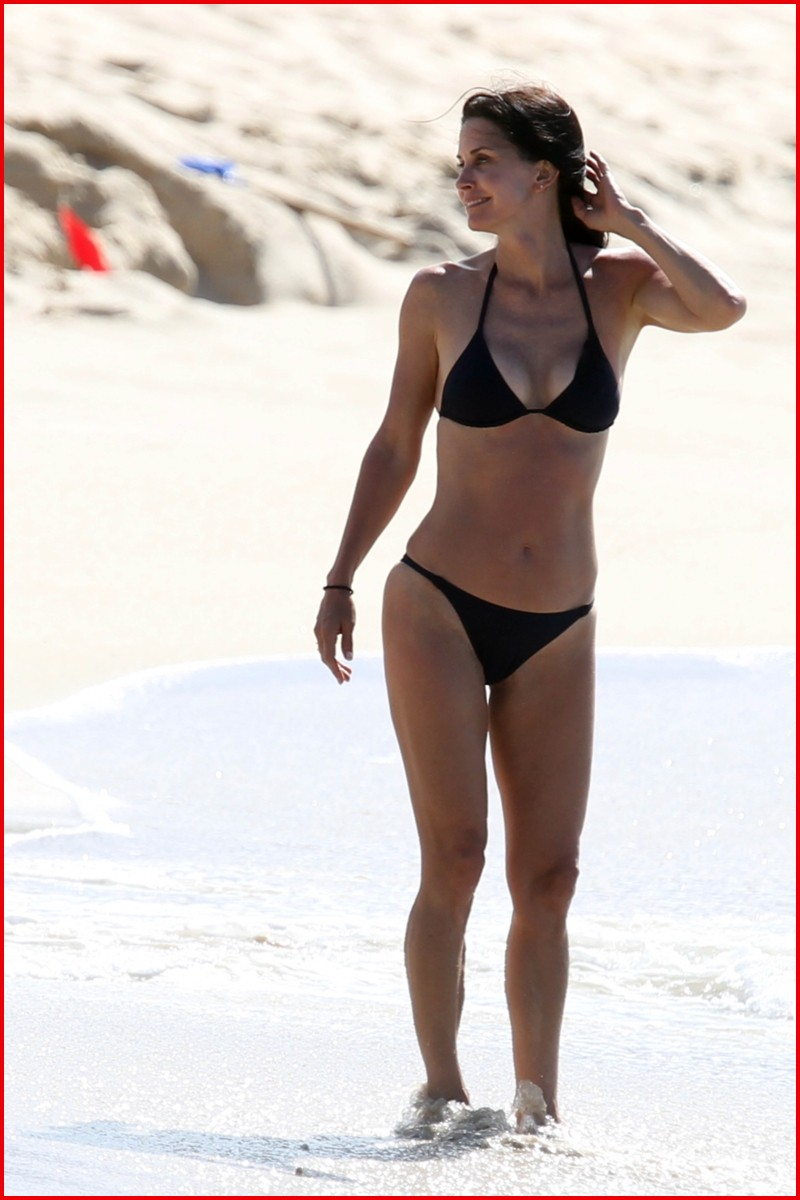 Courteney Cox - Bikini Candids on the Beach in St. Barts