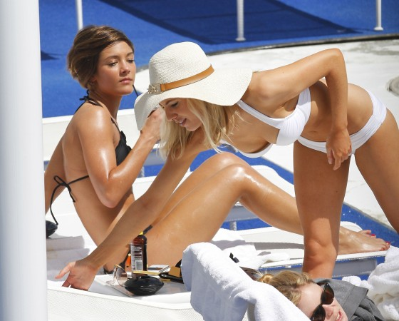 The Saturdays - Bikini Pool candids in LA