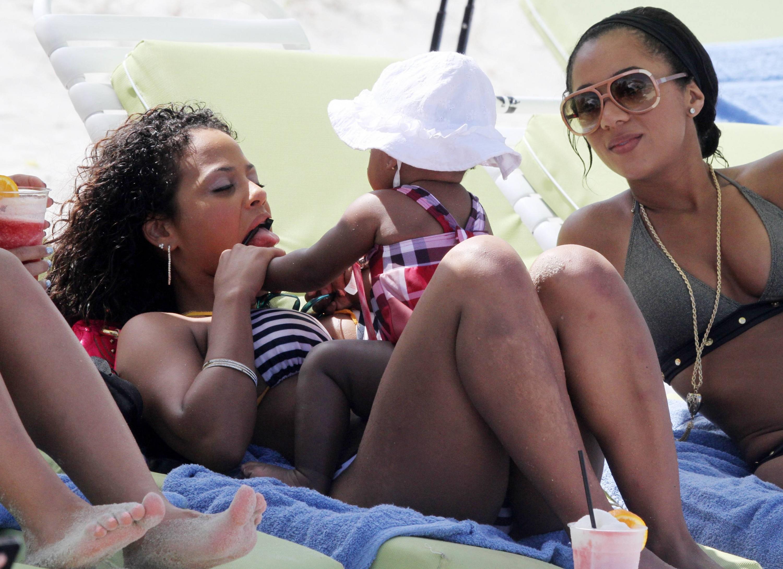 Christina Milian 2011 : Christina Milian With Baby – Miami Beach