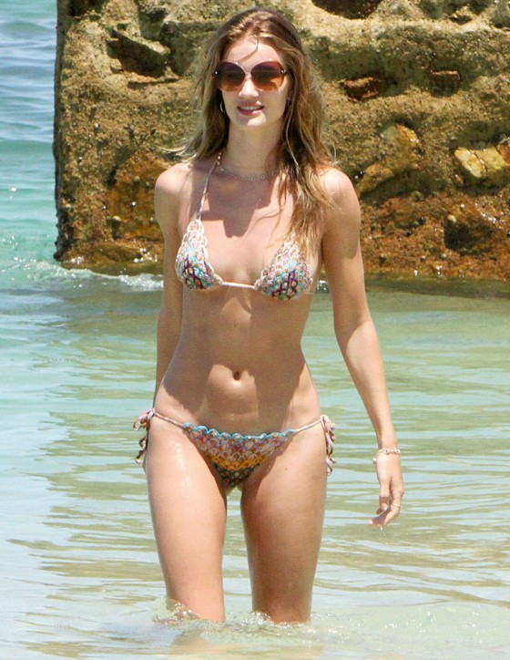 Rosie Huntington-Whiteley in a Red Bikini at the Beach in Mexico