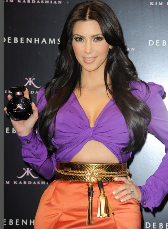 Kim Kardashian launches her perfume at a store in central London