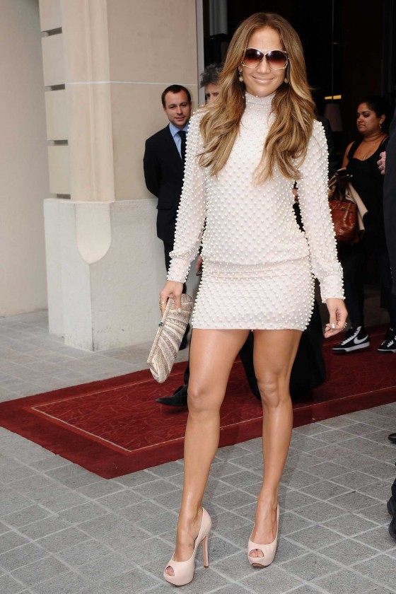 Jennifer Lopez Leggy Candids at an Event in Paris