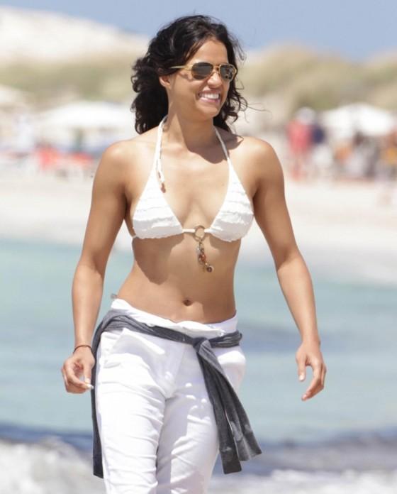 Michelle Rodriguez - bikini candids in Spain