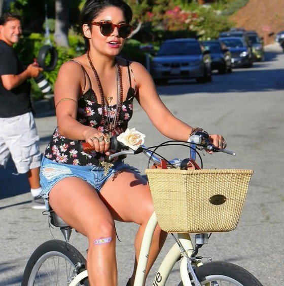 Vanessa Hudgens - Leggy Candids on Bike