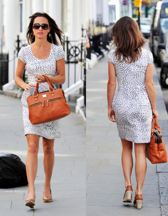 Pippa Middleton Leggy in Short Dress Out in Notting Hill