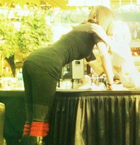 Selena Gomez - Tights Black Spandex Candids at West Edmonton Mall 11