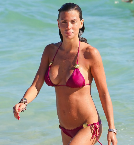 Claudia Galanti showing off her bikini body on the beach in Miami