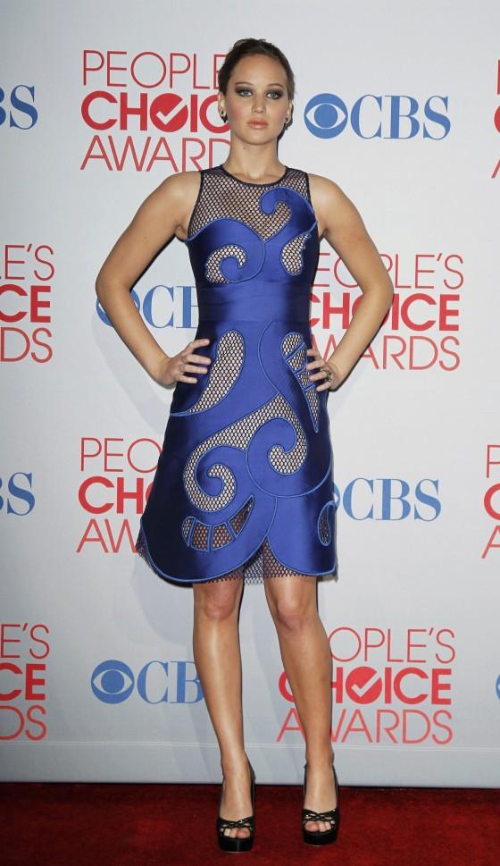 Jennifer Lawrence - Blue Dress at 2012 People's Choice Awards
