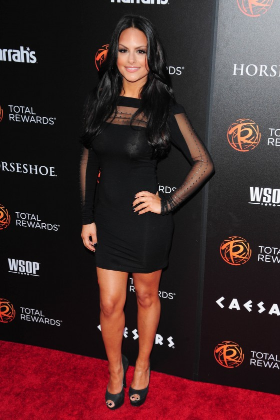 Pia Toscano legs in tight dress at Escape To Total Rewards