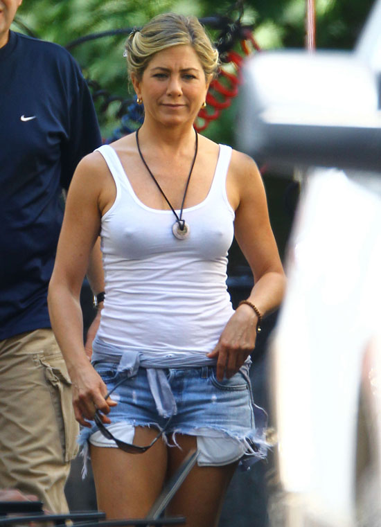 Jennifer Aniston hot in white tight shirt on the set of Were the Millers