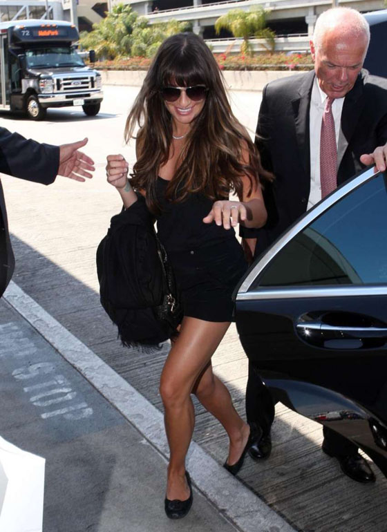 Lea Michele shows her legs in mini dress at LAX