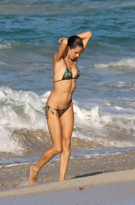 alessandra ambrosio   wearing a bikini on the beach in st barts