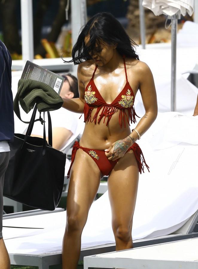 Karrueche Tran in Red Fringe Bikini23