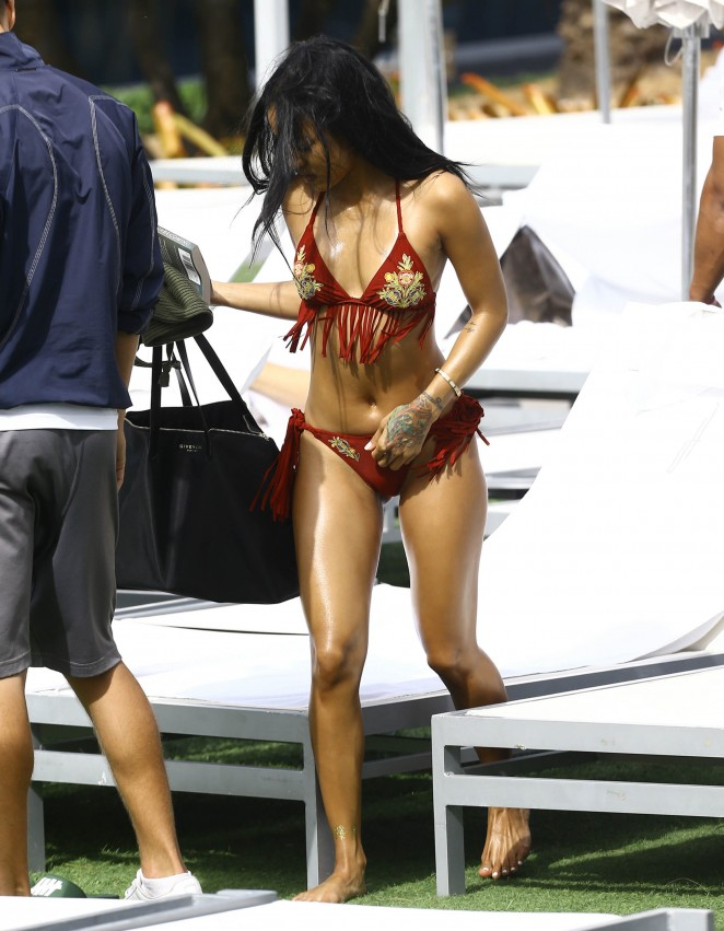 Karrueche Tran in Red Fringe Bikini22