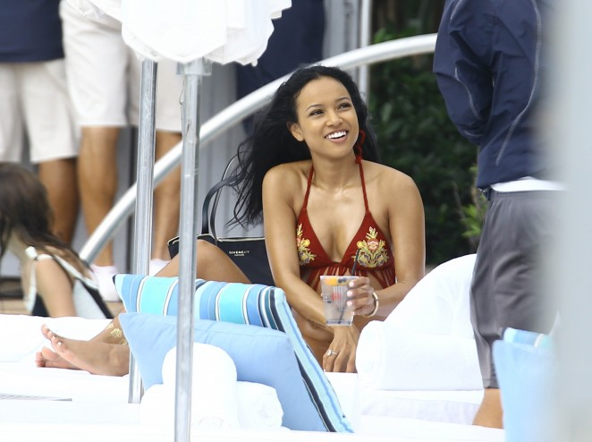 Karrueche Tran in Red Fringe Bikini