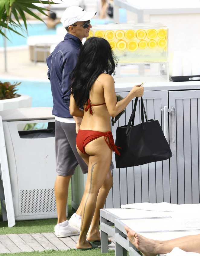Karrueche Tran in Red Fringe Bikini21