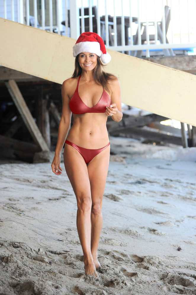 Brooke Burke 2017 : Brooke Burke in Red Bikini and Santa hat1