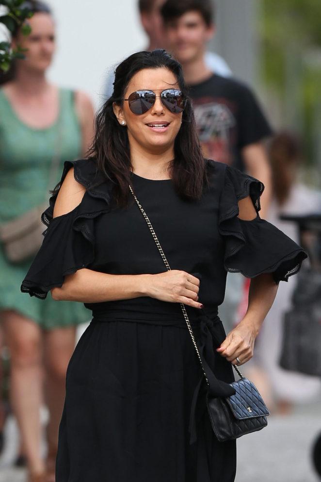Eva Longoria in Black Dress out in Miami Beach