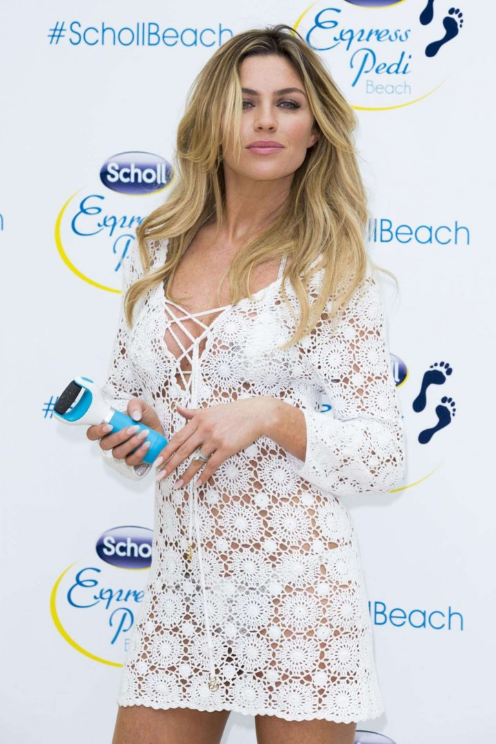 Abbey Clancy at Launch of Scholl Pop Up Pedicure Beach in London
