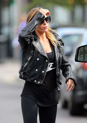 Abbey Clancy in Black Spandex Out in London