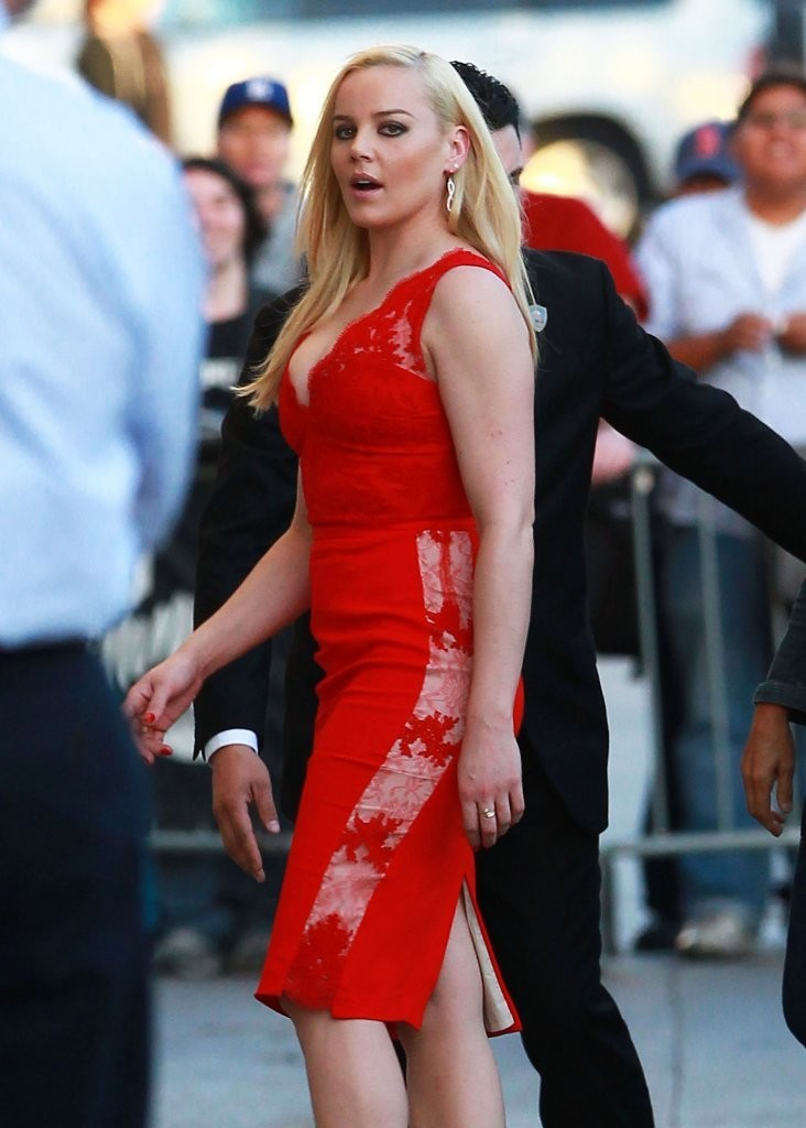 Abbie Cornish Amazing In Red Dress At Jimmy Kimmel Live
