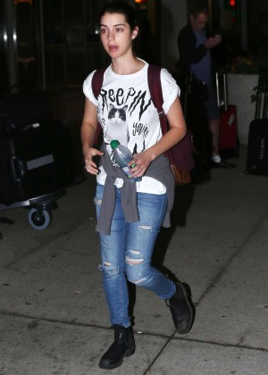 Adelaide Kane in Jeans Arriving at Airport in Toronto