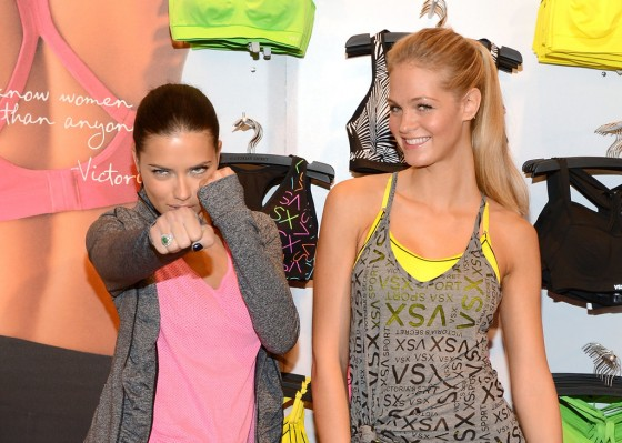 Adriana Lima and Erin Heatherton at Victorias Secret VSX Launch Event -02