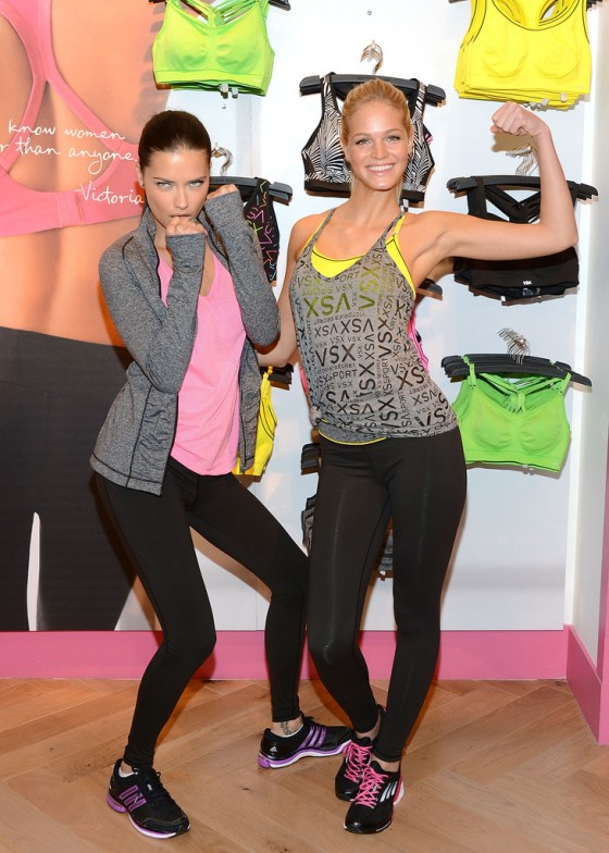 Adriana Lima & Erin Heatherton at Victoria's Secret VSX Launch Event in NY 1/15/13