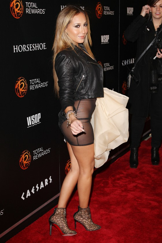 Adrienne Bailon hot in see through dress at Escape To Total Rewards