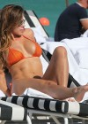 Aida Yespica - Orange Bikini at the Beach in Miami-08