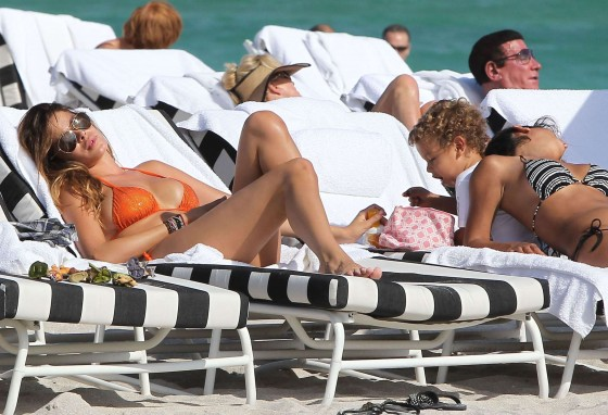 Aida Yespica – Orange Bikini at the Beach in Miami-22