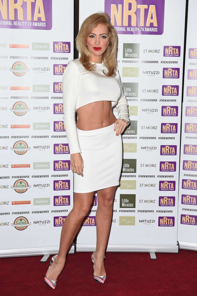 Aisleyne Horgan Wallace in White Dress at 2014 National Reality TV Awards in London