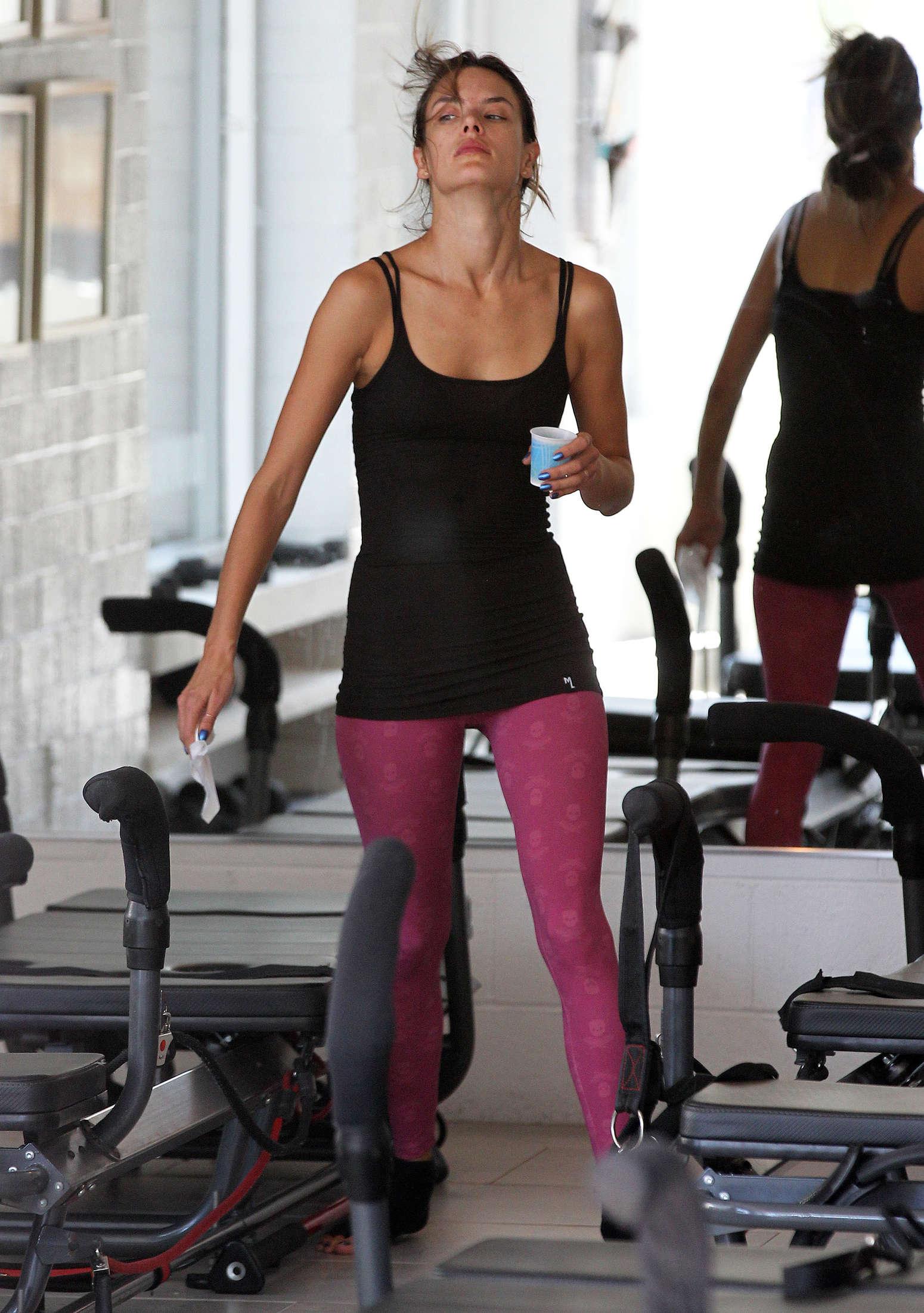Alessandra Ambrosio at a Pilates class in Santa Monica ...