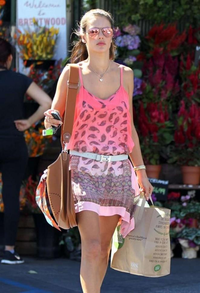 Alessandra Ambrosio in Pink Mini Dress -03