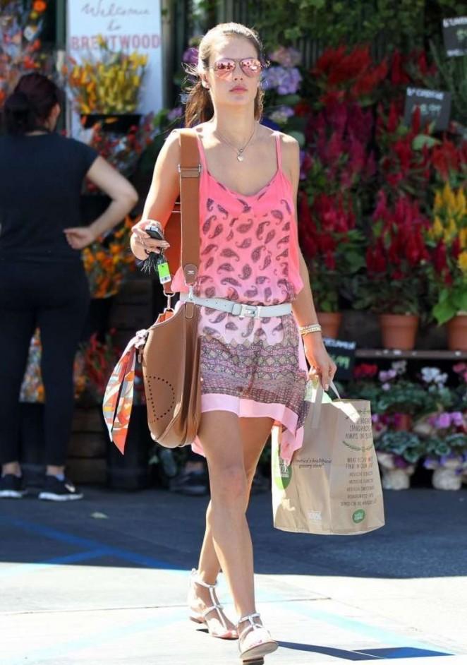 Alessandra Ambrosio in Pink Mini Dress -11