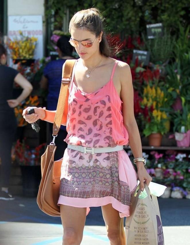 Alessandra Ambrosio in Pink Mini Dress -12