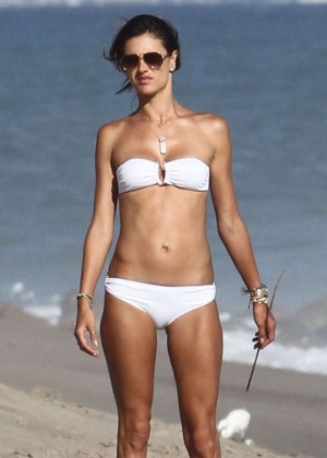 Alessandra Ambrosio in White Bikini on Malibu Beach