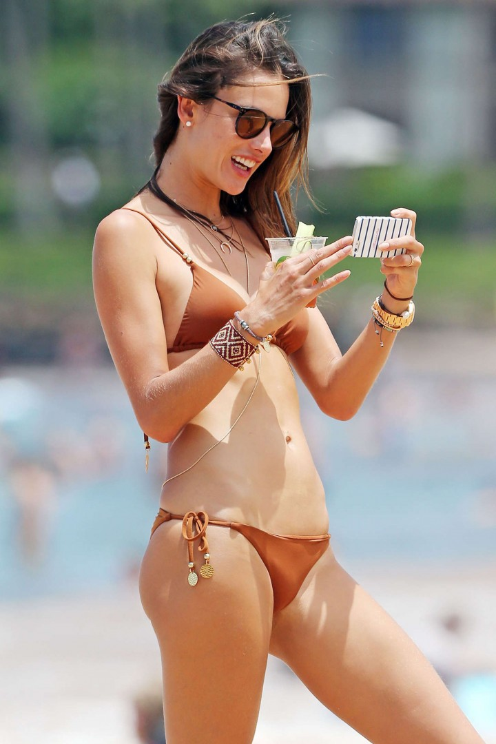 Alessandra Ambrosio Hot in Bikini Candids on Miami Beach