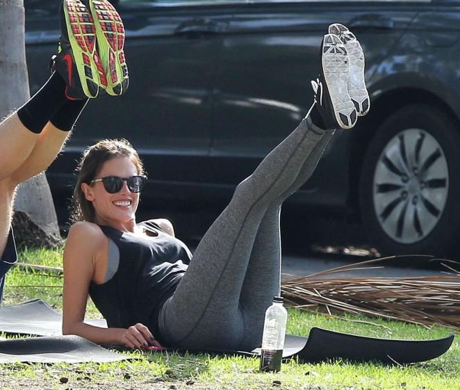 Alessandra Ambrosio - Doing Yoga at a park in Santa Monica